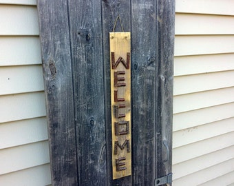 WELCOME SIGN Rustic Reclaimed Wood and Twig Lettering Sign, Camp, Cabin, Home Decor, Entryway Sign, Wedding Sign