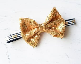 Large Gold bow Headband , baby headband vintage headband sparkle  baby girl headband, newborn Headband,  Photography Prop, holiday