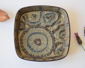 Royal Copenhagen BACA - square tray / dish - brown - 870/2883 - Nils Thorsson - Danish mid century pottery