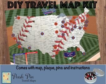 Baseball Stadium Map Etsy - Map of us baseball stadiums