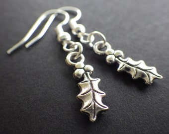 Christmas Holly- Holiday Jewelry- Silver- French Hook Dangle Earrings- Stocking Stuffer- Gift for Her- Woman- Teen Girls
