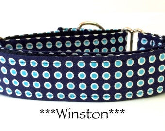 Martingale Dog Collar, Buckle Collar, Adjustable Dog Collar, Custom Dog Collar, Geometric dog collar, Blue Dog Collar, Dots, Winston