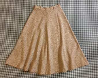1970's, woven, A-line/circle skirt, in beige, with colorful flecks, by Bobbie Brooks, Women's size Small