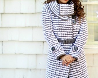 Crochet Pattern: Womens Vintage Houndstooth Jacket, Permission to Sell Finished Items, Sizes XS - 2X