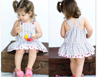 Romper sewing pattern, baby girls romper pdf sewing pattern TINKERBELLE ROMPER sizes 3 months to 3 years by Felicity Patterns