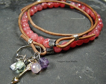 Beaded Leather Wrap Bracelet, Strawberry Quartz Bracelet, Gemstone Charm Holder, Boho Chic, Beaded Jewelry, Wrap Bracelet