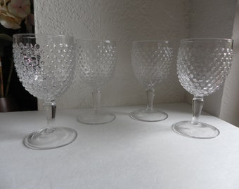Clear Hobnail Water Glasses Set of 4 Wine Goblets 7 1/4""