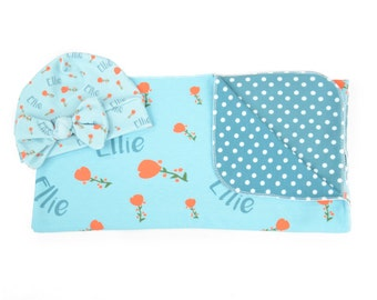 Personalized Swaddle Blanket and Hat / Headband Set - Spring Poppy Blue– Personalized Swaddle Blanket and Hat / Headband Set