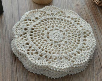 """Dozen 8"""" Round Hand Crochet Lace Cream Doilies Cotton Floral Wedding Coasters Table Placemats Lot French country"""