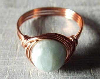 Green Beryl Ring, Copper Ring with Stone, Wire Wrapped Ring, Copper Wire Ring, Light Green Ring, Green Stone Ring, Unique Ring, Simple Ring