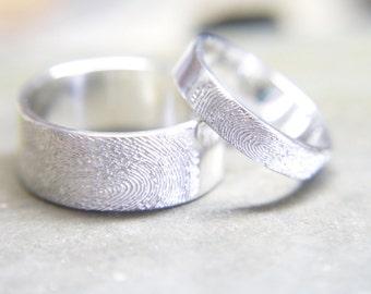Fingerprint ring band, Wedding rings, Fingerprint jewellery, Couples jewellery, Gift for her, Gift for him