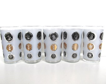 Set of 5 Libbey Gold Coin Tumblers, Hollywood Regency Frosted Highball Glasses, Black and Gold Coin Vintage Barware