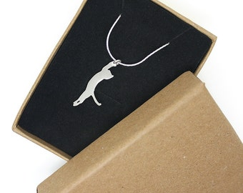 Silver cat stretching on a delicate silver chain,sterling silver cats & dogs charm,silver cat pendant,cat necklace.