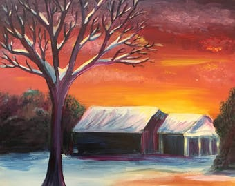 Purple Tree in Snowy Sunset: Expressionist Acrylic Painting