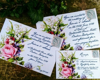 Victorian floral postcard wedding invitations and RSVPs