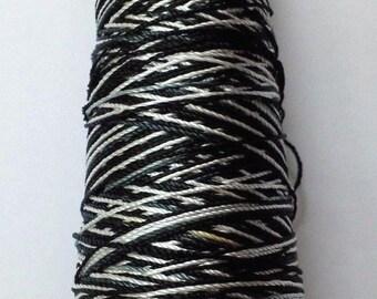 BLACK & WHITE - Viscose Rayon Art Silk Thread Yarn - Embroidery Crochet Knitting Lace Jewelry - 30 grams - 150 Yards - 1 mm Thick