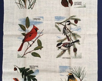 TWITCHERS for you! 'Birds'  Linen/Cotton Kitchen/TeaTowel,  Wall Hanging, New Old Stock