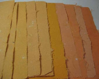10 Handmade Paper Orange Shades