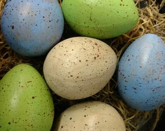 Paper Mache Eggs - Blue/Green