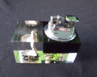Lucite Acrylic Table Lighter Seashells Pearl