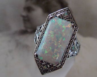 Stunning Sterling Silver Opal  Ring  Size 8.75  Art Deco