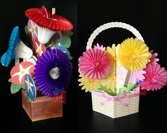 3D honeycomb morning glory flower greeting card*Pretty Petite Basket card* All occasions * Birthday card* getting well card* Thank you card*