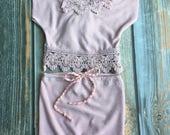 Newborn Photography Prop - Upcycled Girls Mauve Pink Set w/ matching headband - lace