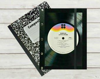 Kansas Vinyl Record Notebook Cover, Refillable Composition Book Cover, Musicians gift, Teacher Gift, Eco-friendly journal, DJ gift, J166C