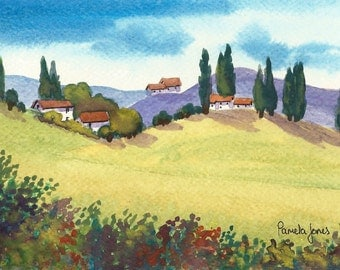 Original Watercolour, Painting,  Tuscany, Italy, 9ins x 7ins, Mothers Day, Gift Idea, Art and Collectables