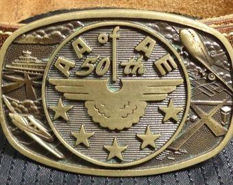 Vintage Brass Belt Buckle with Belt - A.A.A.E American Association of Airport Executives 1978 50th Anniversary Conference - 70's Airplane