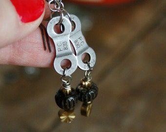 Bike Chain Earrings Bicycle Earrings Bike Jewelry Cycling Earrings Dangle Earrings Mountain Bike Earrings Recycled Bike Chain Jewelry