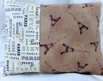 Paris themed Pillows - Eiffel tower pillow - French themed Pillows - accent pillows - bed pillows - French country decor - Brown ivory