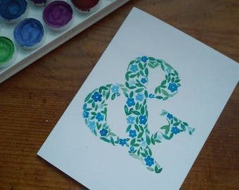 "Watercolor Floral Ampersand Card - 4""x5.5"""