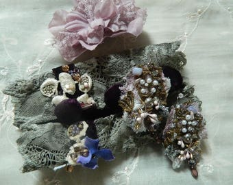 Velvet romantic wrist cuff mixed media ornate and embellished, embroidered