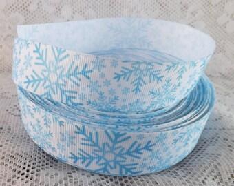 Blue Snowflake ribbon 1 inch Snowflake grosgrain ribbon blue snow ribbon