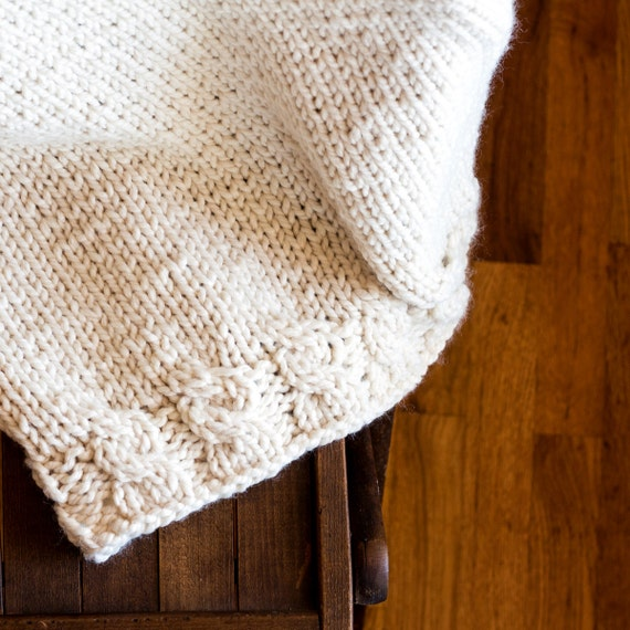 Chunky Knit Throw Pattern : Items similar to Chunky Knit Blanket Knitting Pattern - GRACE on Etsy