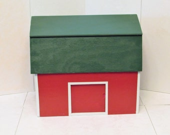 Child's Wooden Barn Play Toy Handmade Barn Red Evergreen Green Roof