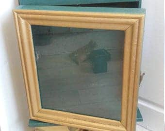 wooden key cabinet with case window  and drawer green and gold  secondhand painted