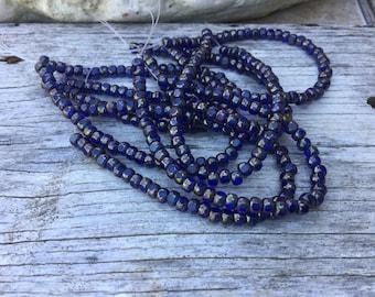 4x3 trica beads, blue sapphire, cobalt blue small faceted czech beads