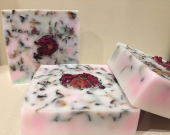 WILD ROSE- Handmade SOAP  by Spa Uptown-vegan, Detergent free, w/ Rose Essential oil & Dried rose buds