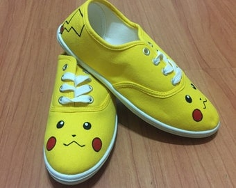 Pikachu Shoes. Pokemon Shoes. Pokemon Go Shoes. Hand Painted Shoes.