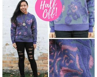 Comfy Sweater - Purple Comfy Sweater Purple Sweater Lavender Sweater Floral Sweater Purple Sweatshirt Comfy Floral Sweater Warm Sweater
