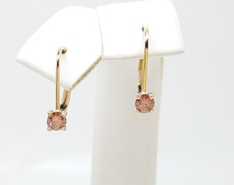 Pink Diamond .25ct 14kt Yellow Gold Lever back Earrings