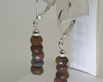 4.85ctw Black Fire Opal Sterling Silver Bead Earrings