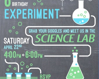 Science Lab Birthday Invitation Printable, Email and Printed