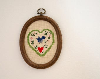 Vintage Needle Point Bird Wall Hanging