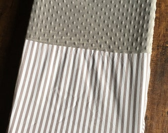 Changing Pad Cover, Gray and White Diaper Changing Table Pad Cover, Gray Striped Changing Pad Cover, Minky Changing Pad Cover
