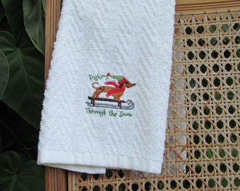 Embroidered Dashing Through the Snow Dachshund Hand Towel