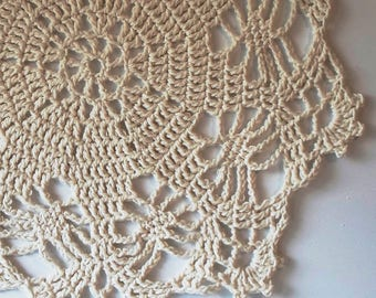 Handmade Shabby Chic Table Topper Cotton Yarn Crocheted Doily