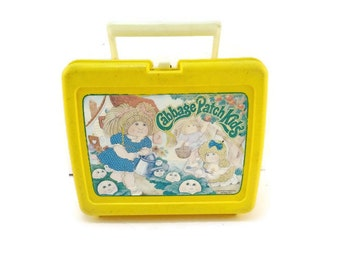 Vintage Cabbage Patch Kids Lunch Box / Vintage Yellow Cabbage Patch Kids Lunchbox / Vintage 1983 Original Appalachian Artwork/ Thermos Brand
